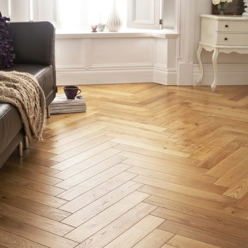Solid French Oak Herringbone Parquet 90 x 630 x 18mm