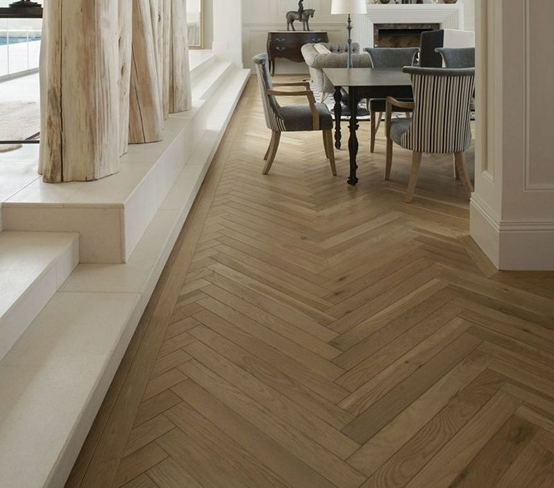 solid french oak herringbone parquet 90 x 630 x 18mm - Parquet Flooring