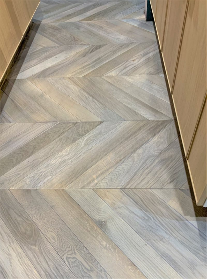 Solid French Oak chevron treated to age the wood