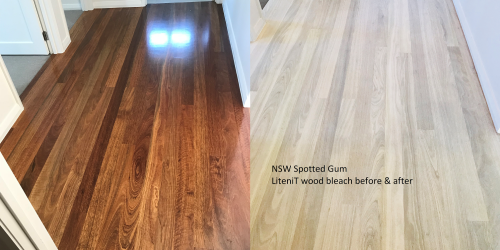 NSW Spotted Gum LiteniT Wood Bleach before and after.