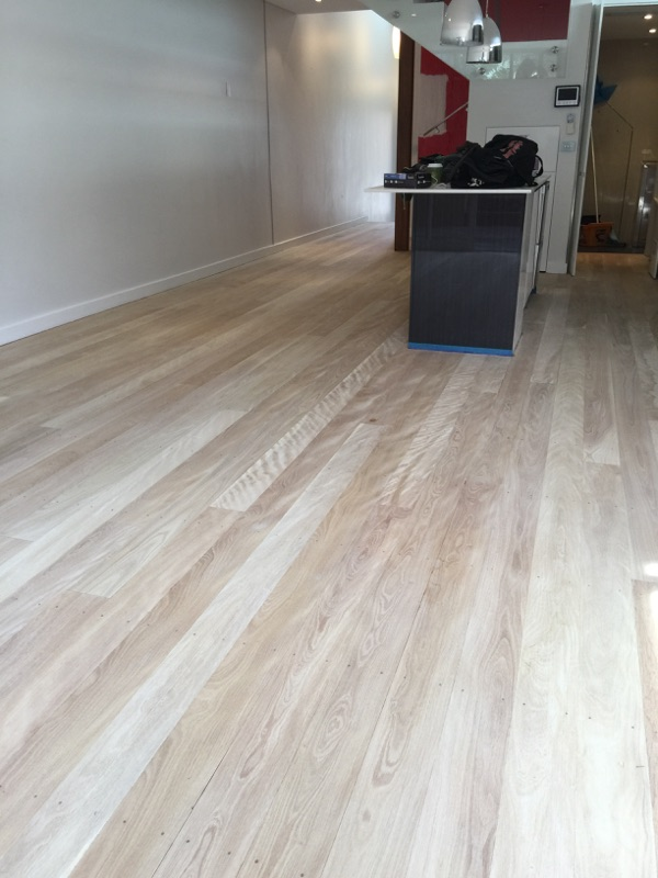 Bleached Brushbox room flooring.