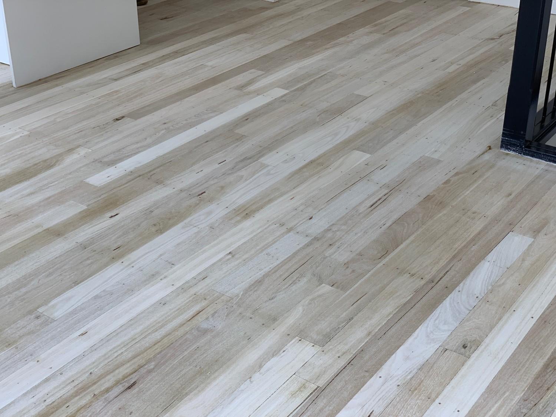 Bleached Jarrah flooring ready for coating