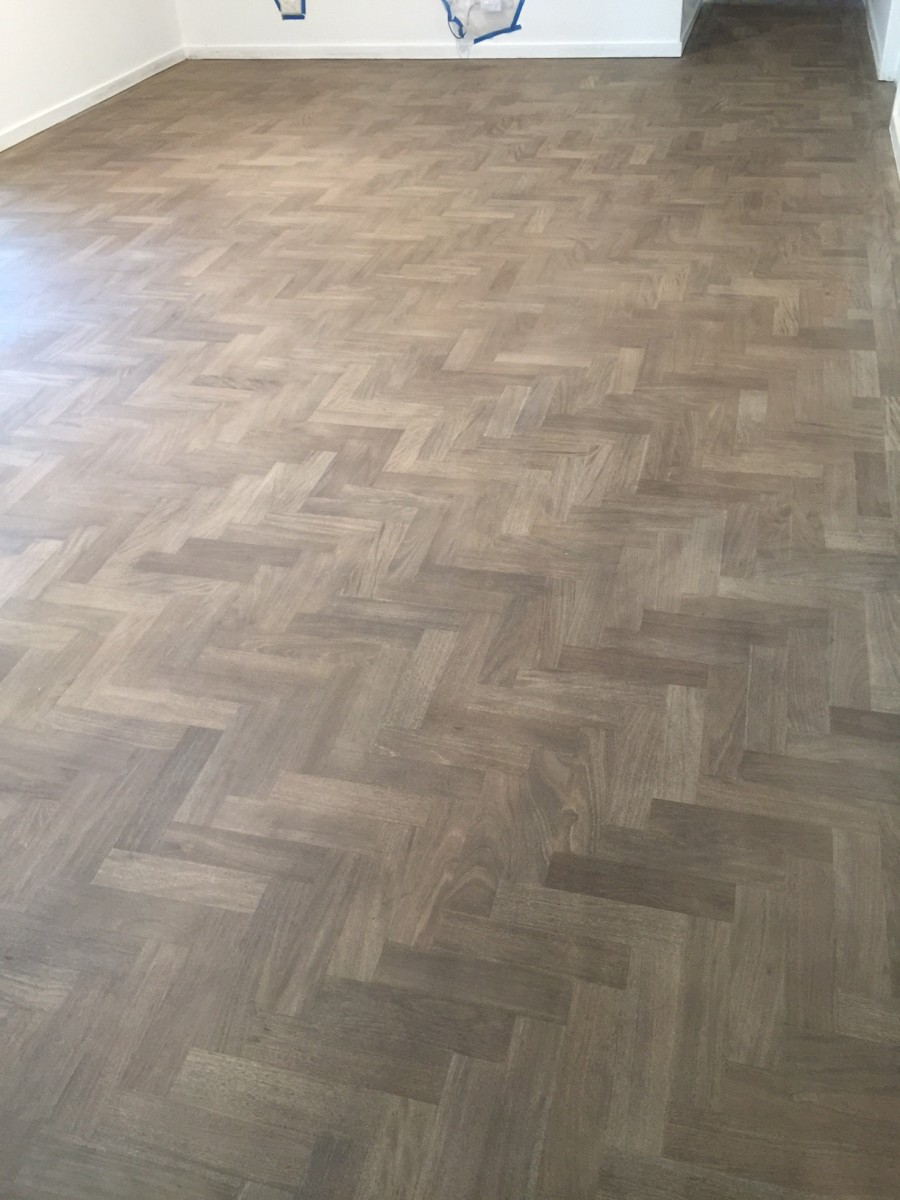 Bleach Brushbox parquet with a grey stain