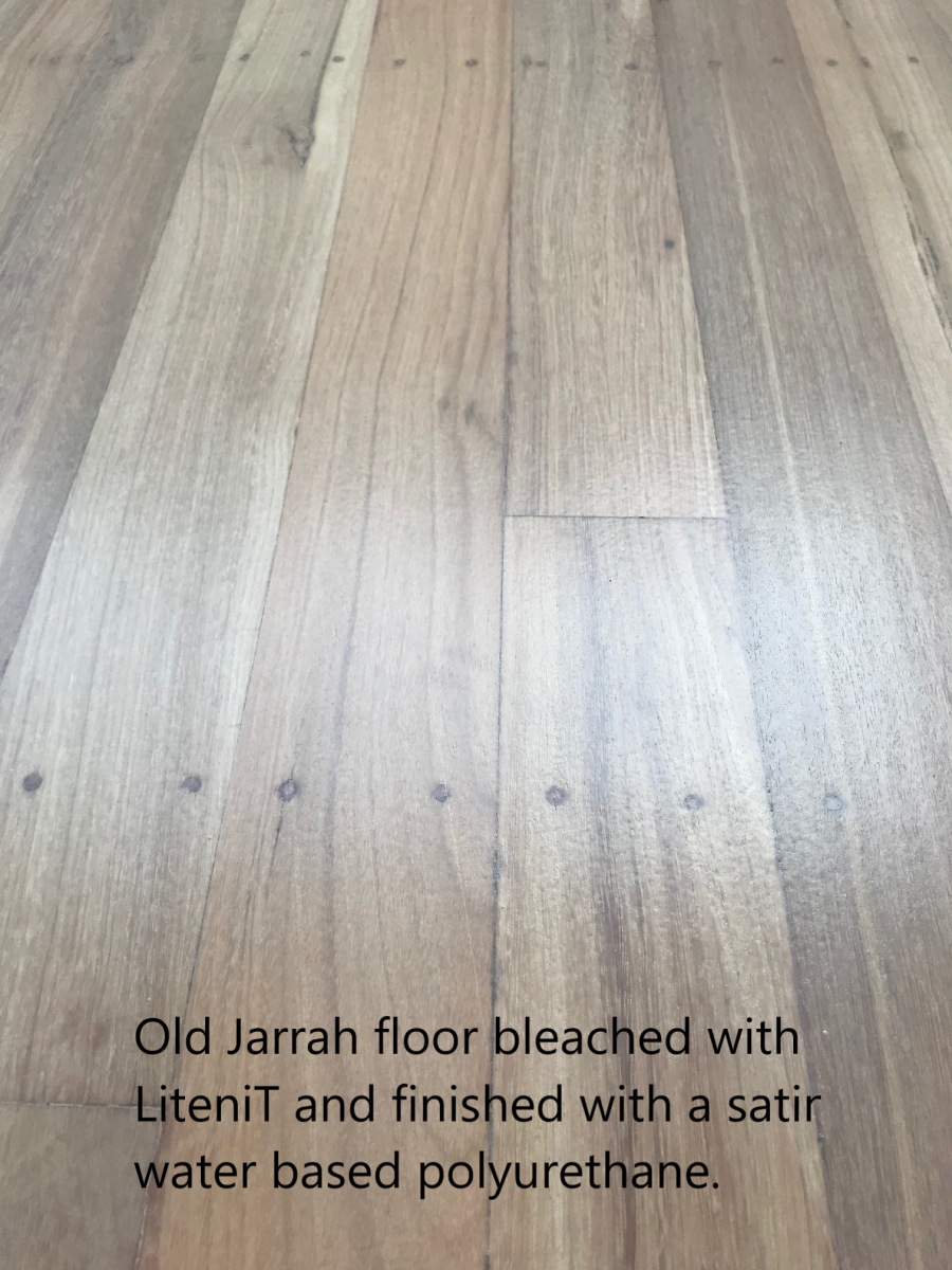 Bleached Old Jarrah flooring finished in waterbased.