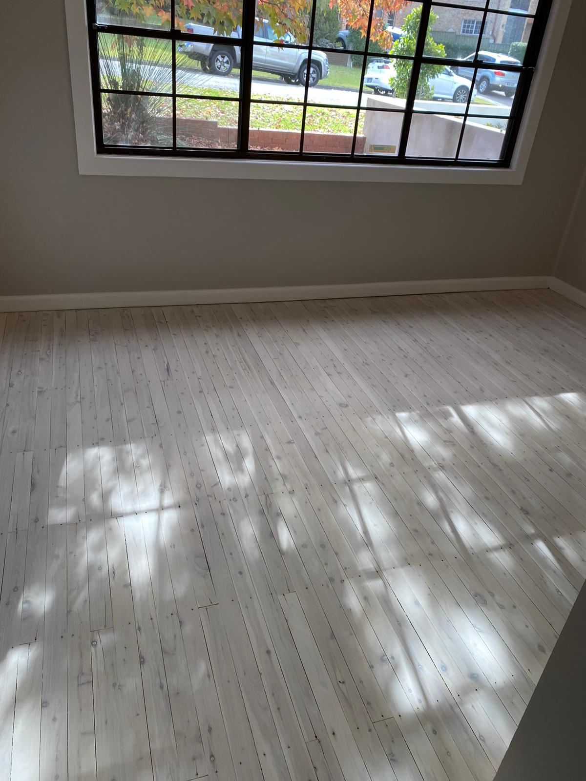 Bleached Cypress Pine plus white pre-colour application & white oil finish